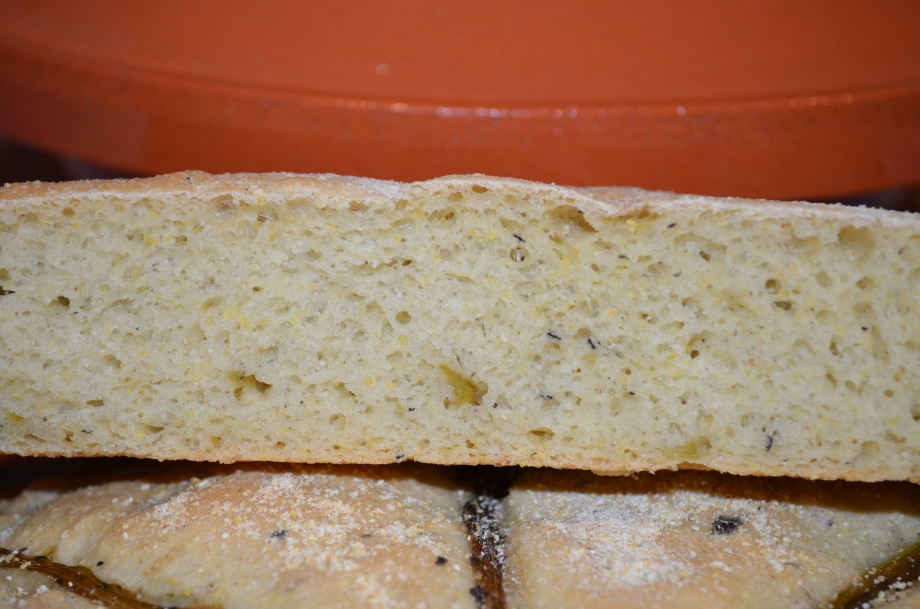 close up of hatch chile bread